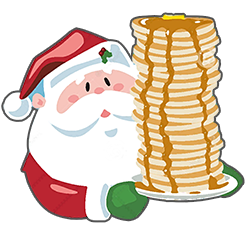 Drawing of Santa Calus holding a plate of pancakes